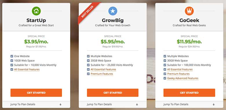 SiteGround offers three shared hosting plans, StartUp, GrowBig, and GoGeek