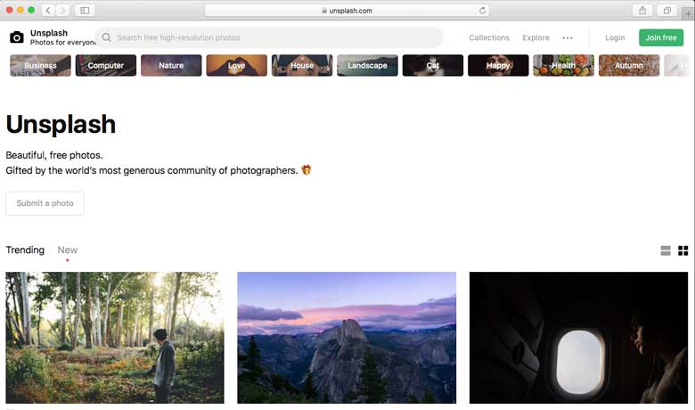 Unsplash.com is a community of 20 million photographers worldwide.
