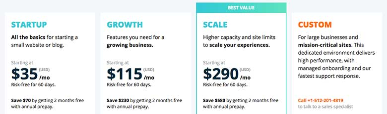 WP Engine offers four managed WordPess hosting plans, Startup, Growth, Scale, and Custom