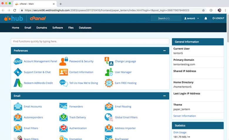 All hosting plans with Web Hosting Hub include the industry-standard cPanel control interface