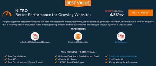Web Hosting Hub's Nitro plan offers more options and features