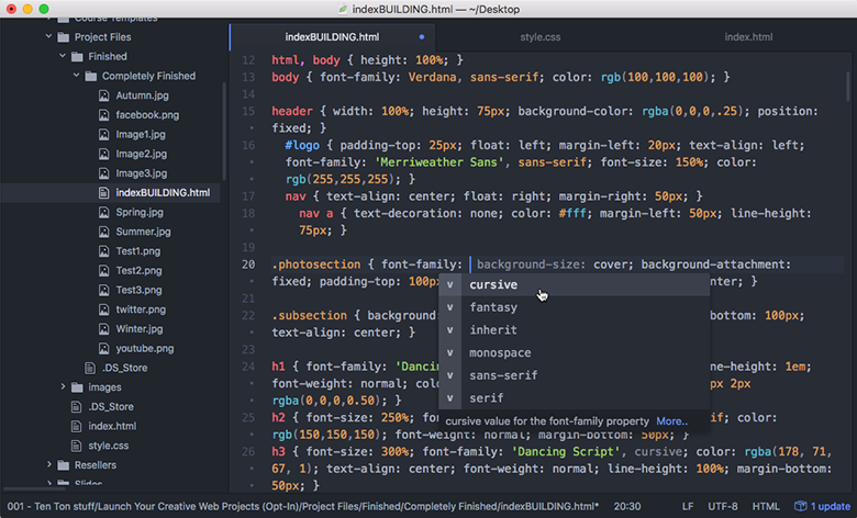Atom's simple, clean interface in action!
