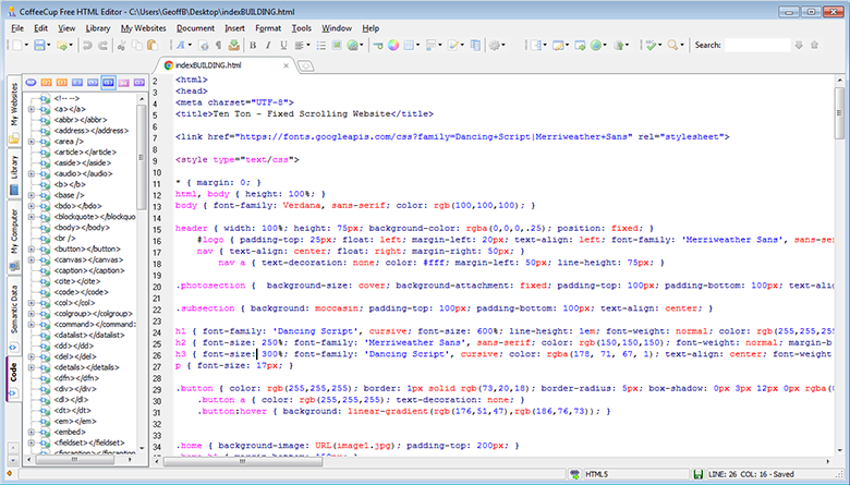 Even the free version of CoffeeCup HTML Editor boasts many handy features.
