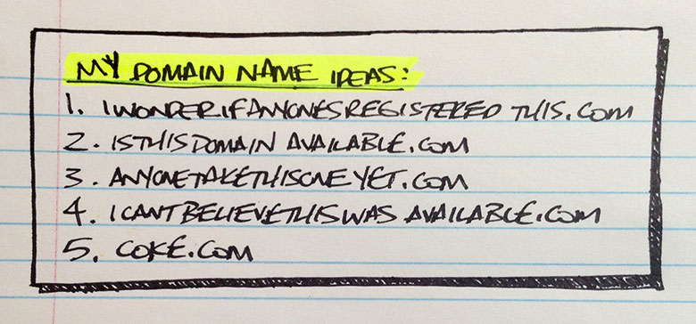 Brainstorm a list of potential domain names to register for your business.