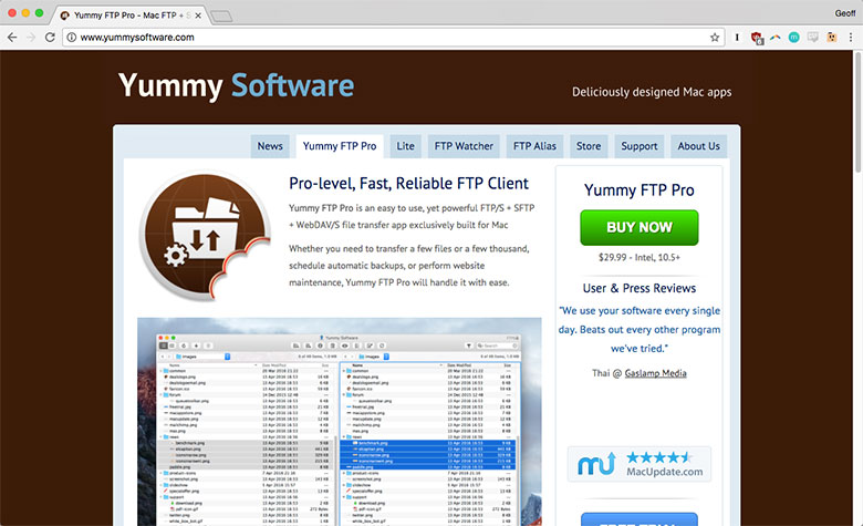 Yummy FTP Pro is a solid FTP application used by designers and developers.