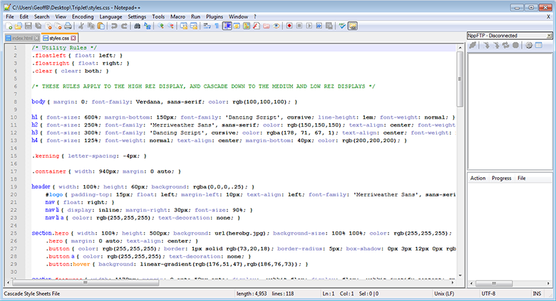 The NotePad++ interface includes many handy features.