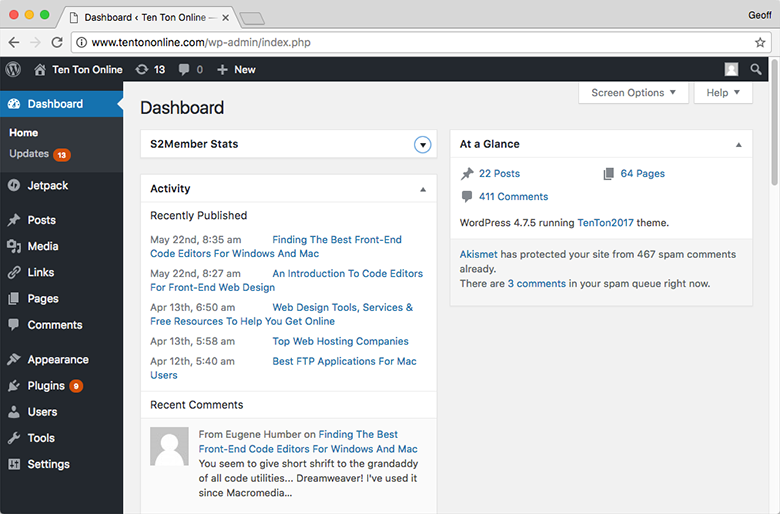 The WordPress back-end admin dashboard makes it easy to manage your website